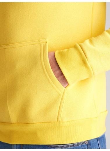 Dufy Düz Erkek Sweatshirt - Regular Fit Sarı
